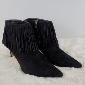 Sam Edelman Kandice Fringe Bootie Black Size 10